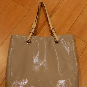Michael Kors gray patent leather tote